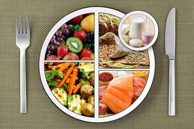 A healthy plate is one-half fruits and vegetables and the rest whole grains, lean protein, and a serving of low-fat dairy.
