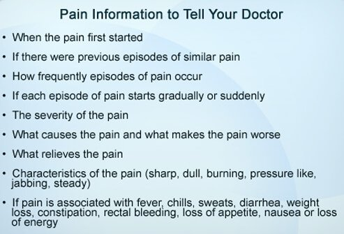 Be as specific as you can about your pain so your doctor can help you.