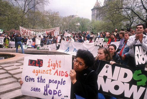 AIDS protesters outside NYC City Hall, 1988.