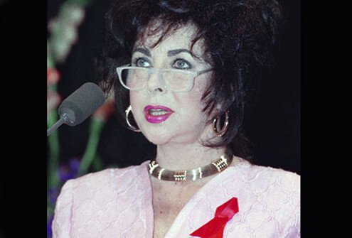 Elizabeth Taylor speaks at AIDS conference in 1992.