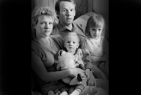 The Burke family in 1985. The father, mother, and son have HIV.