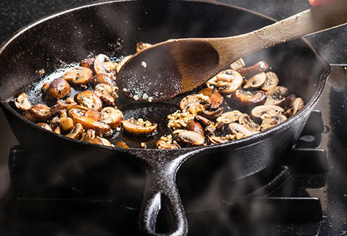 Saute mushrooms in butter, chicken stock, and garlic to kick up the flavor quotient.