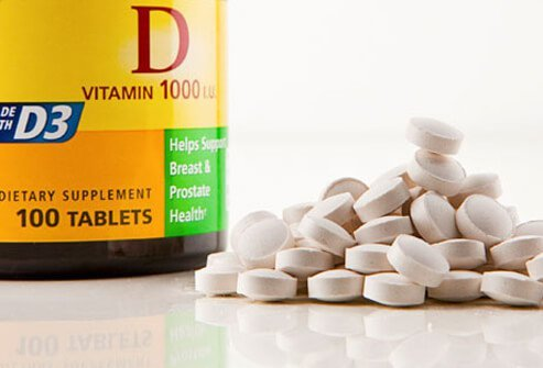 A bottle of vitamin D supplements.