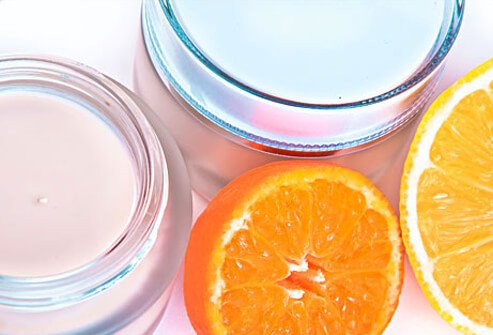 Photo of oranges and face cream.