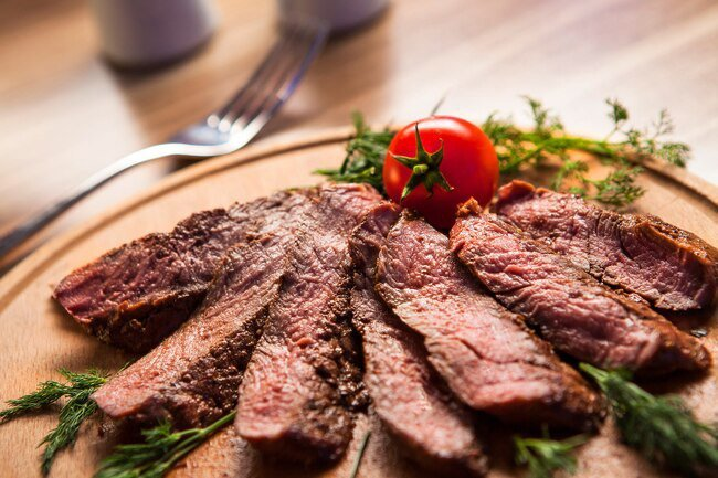 A small steak has more than 40 grams of protein along with nutrients like calcium, iron, magnesium, and vitamin B12.