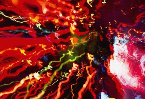 Colorful streaks of light that may agitate children with autism.
