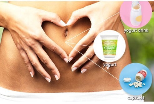 A yogurt drink, container of yogurt, and a bottle of probiotics, which help promote good bacteria in the GI tract.