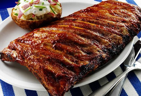 A whole rack of ribs has 1,000 calories and a day's worth of fat.