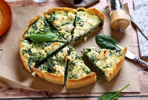 Make quiche with broccoli, spinach, and other veggies for a healthy main course.