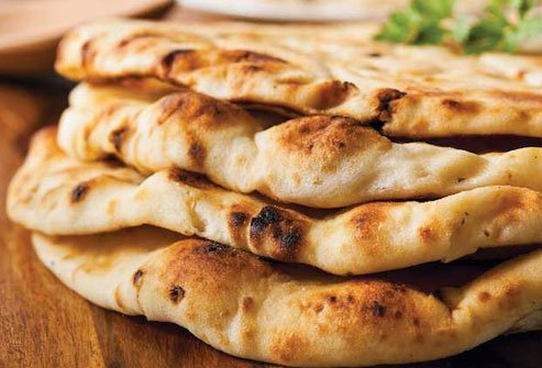 Skip naan that is full of white flour, sugar, and oil.