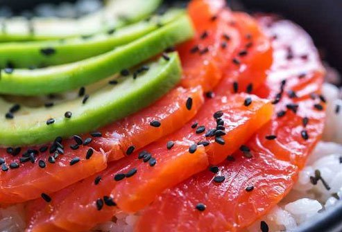 One of the foods highest in omega-3 fatty acids, salmon is a great choice on top of a bit of hand-pressed rice.