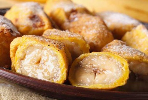 Fried bananas are loaded with fat so choose sticky rice or sorbet for dessert instead.