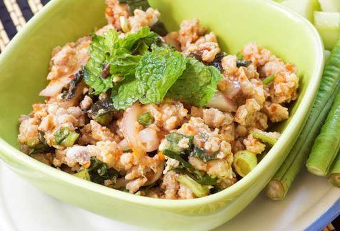 Chicken larb salad is a good choice but skip the white rice.