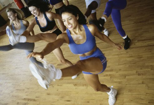 A group of women working out.