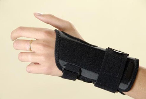 Photo of hand in brace.