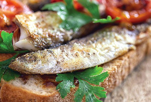 These little fish are good sources of protein, calcium, vitamin D, and omega-3 fatty acids (EPA and DHA), which help prevent heart disease.
