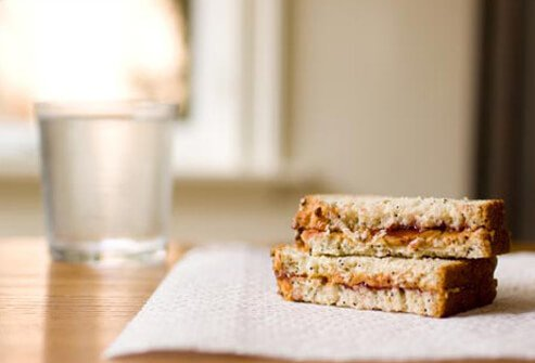 Photo of peanut butter sandwich, eating healthy with COPD.