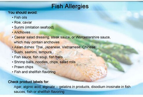 People with fish allergies should avoid these foods and ingredients.