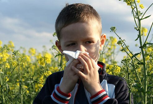 A boy has allergies and possibly an ear infection.
