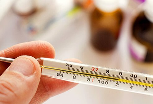 A thermometer shows a fever of 102 degrees.