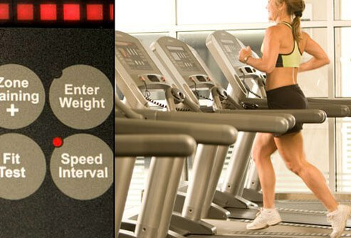 A woman jogging on treadmill with speed intervals.