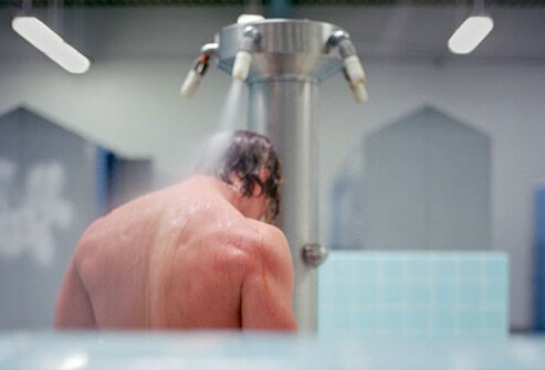 A man taking a shower.
