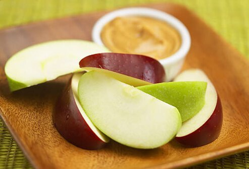 Apple slices and peanut butter.