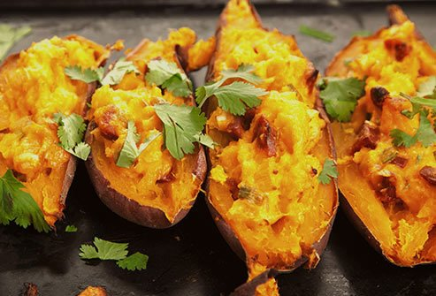 Sweet potatoes are rich in beta-carotene that protects eyesight.