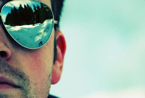 Photo of skier wearing sunglasses.