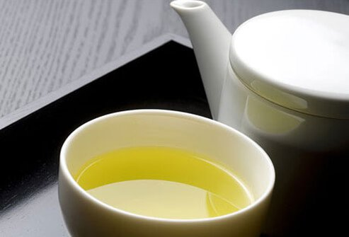 Photo of pot of green tea.