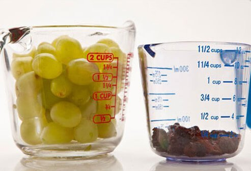 Photo of grapes and raisins.
