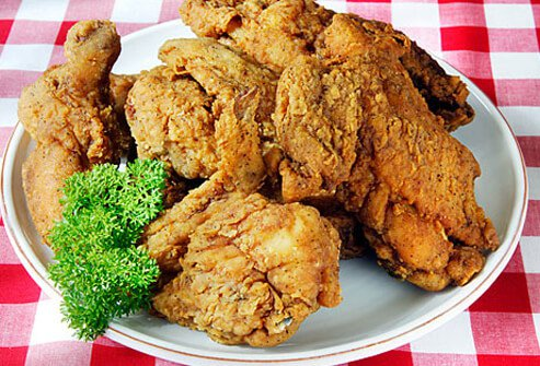A plate of fried chicken.