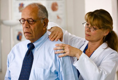 A man with fibromyalgia getting treatment for his pain.