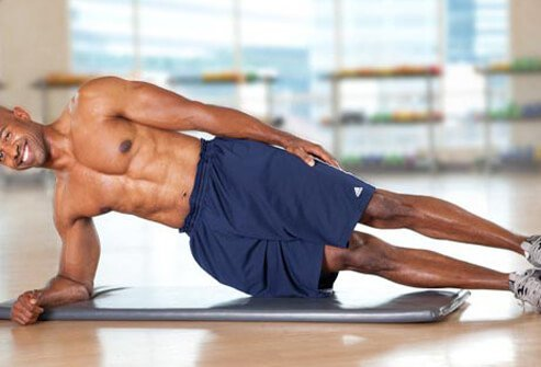 Side plank is a great way to work both the obliques and the glutes.