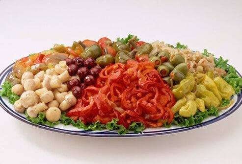 A photo of a salty plate of antipasto.