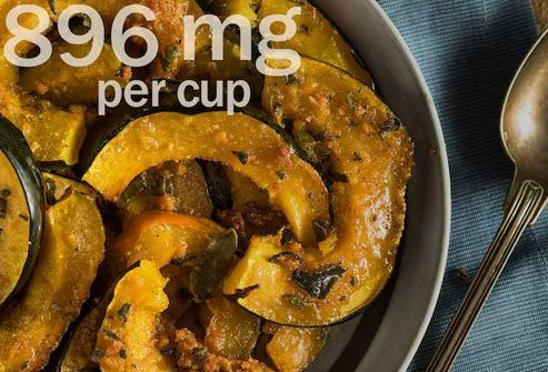 Carotenoids in potassium-rich acorn squash gives it a bright orange color.