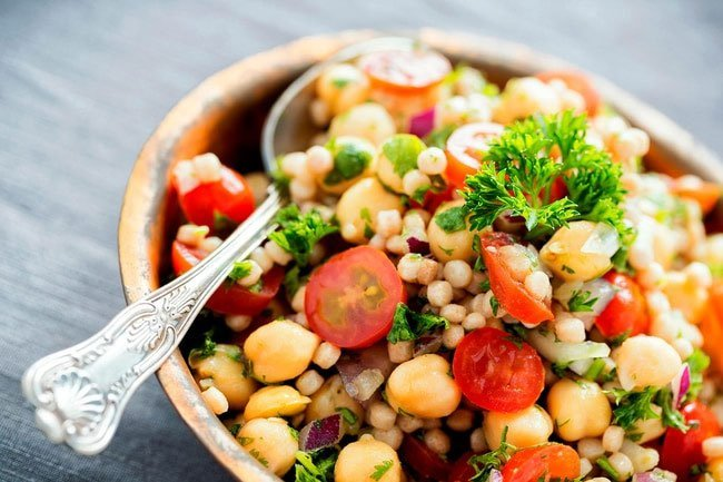 Chickpeas have 8 grams of protein per half cup serving.