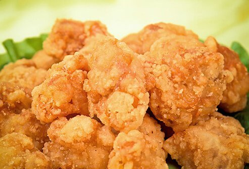 Breaded chicken nuggets.