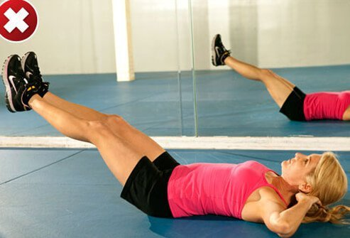 Lying on your back and lifting both legs together can worsen back pain.