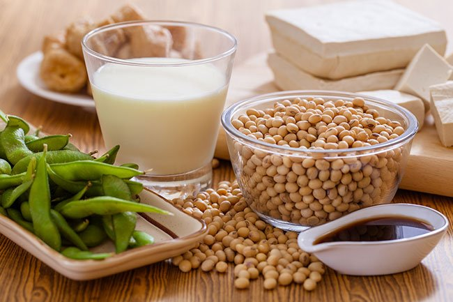 Soy foods like tofu, soy milk, and edamame have moderate amounts of purines.