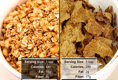 Photo of granola and whole grain bran cereal.