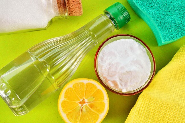 Baking soda and vinegar are great nontoxic cleaners.