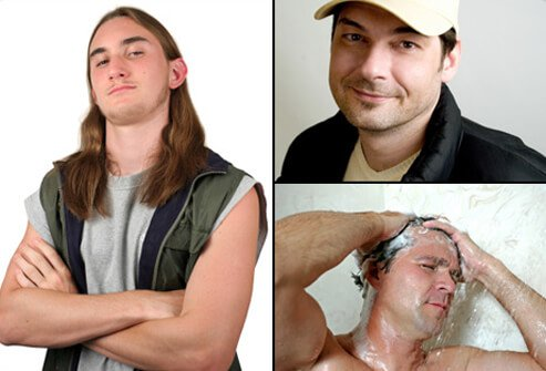 Hair Loss , Causes, Treatments and Solutions for Men & Women slideshow Hair-loss-s13-long-hair-man-with-hat-and-man-showering