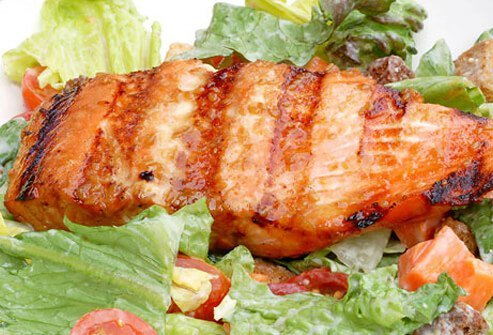 A grilled salmon salad