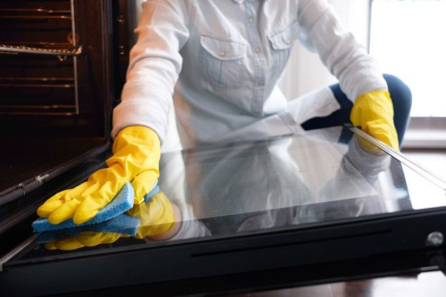 Ammonia is good for cleaning glass and your oven.