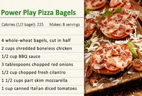Pizza bagels recipe.