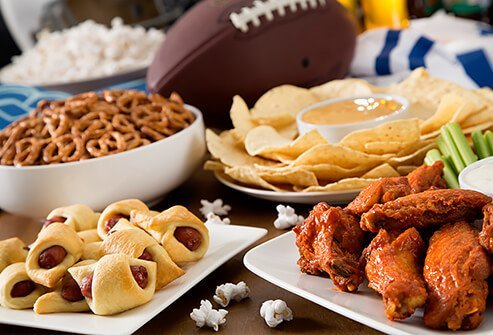 An array of game day party snacks.