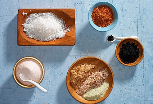Photo of various sea salts.