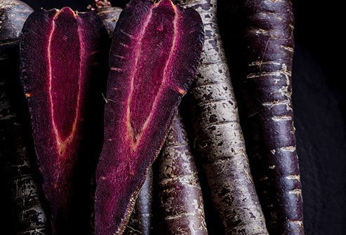 Purple carrots have beta carotene, carotenoids, and anthocyanins.