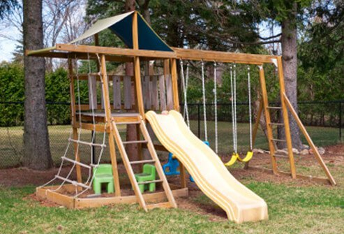Inspect outdoor playground equipment and be sure that it remains sturdy and in good repair.